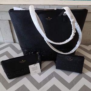 Kate Spade Penny Greta Court Tote purse black new